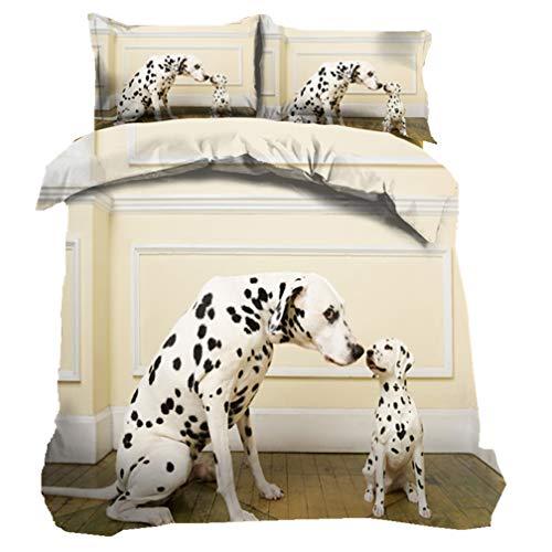 3D Welpen Bettbezug Set, Süß Dalmatiner Bulldogge Husky Mops Bettbezüge Mikrofaser Tagesdecken Betten Set 3 Stück Inklusive 1 Bettbezug + 2 Kissenbezügen (Hund 2, 135 * 200cm) (Queen Bett Set-muster)