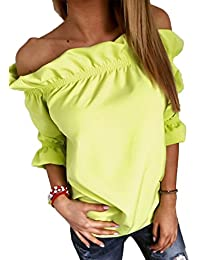 Sail-Dream Verano Mujeres Tops Moda Cuello Barco Manga 3/4 Camisetas Blusa Casual