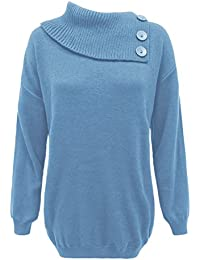 a6a4d1b816bd Missmister Ladies Women Knitted Polo Neck Pullover Sweater 3 Buttons Jumper  Top Plus Sizes 16 18