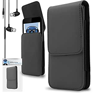 iTALKonline Samsung S7500 Galaxy Ace Plus Grey PREMIUM PU Leather Vertical Executive Side Pouch Case Cover Holster with Belt Loop Clip and Magnetic Closure Includes Grey Premium 3.5mm Aluminium High Quality In Ear Stereo Wired Headset Hands Free Headphones with Built in Mic Microphone and On Off Button