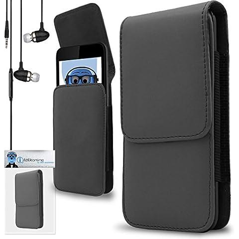 iTALKonline Samsung T509 Grigio PREMIUM PU pelle verticale esecutivo laterale della cassa del sacchetto per armi della copertura con attacco cintura Clip e chiusura magnetica