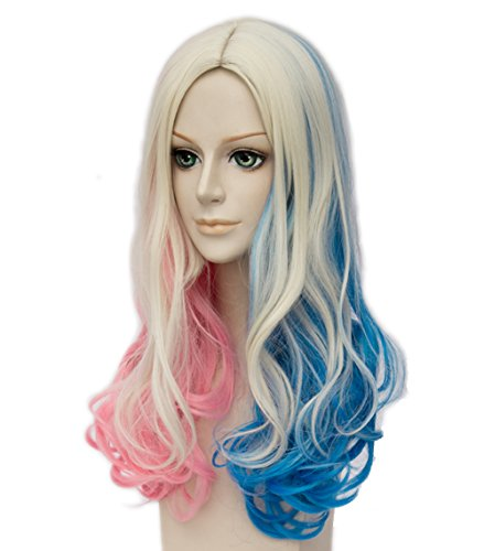Harley Quinn Perücke Lang Cosplay Perücke, Lockig Damen Perücke mit Perücke-Kappe, Blond Blau Rosa Perücken für Karneval Halloween Fasching Kostüme - Einfach Harley Quinn Kostüm