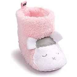 Inverno Caldo Baby Peluche Stivali Di Neve Sole Soft antiscivolo Prewalker Crib Scarpe per neonato Ragazzi Infant Ragazze (12-18 mesi, Pecora rosa)