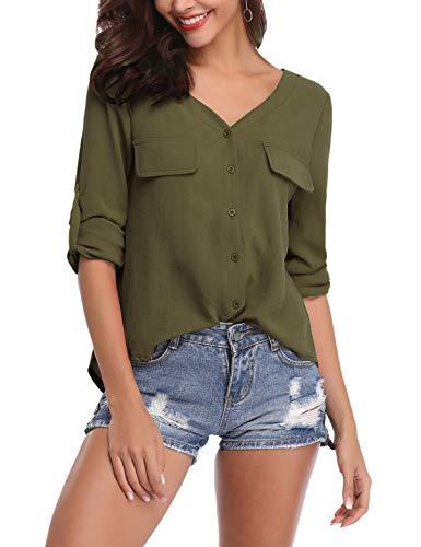 SIRUITON Damen Bluse Elegant Langarm Button Down Shirt Roll Up Sleeves Hemdbluse fürs Büro -