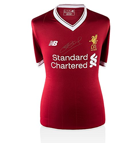 Steven Gerrard Silver Front Signed Liverpool Shirt - Home, 2017/2018