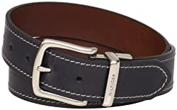 Tommy Hilfiger Mens Contrast Stitching Jean Belt, Black/Brown, 36