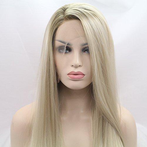 xiweiya Ombre Blond Lang seidig glatt Synthetische Lace Front Perücken mit Dark Root für Frauen, Drag Queen mit Hitzebeständige Kunstfaser Haar Ersatz Perücke Seite Teil 61cm.