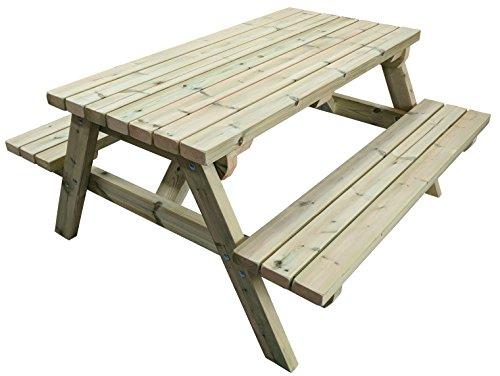 Premium Heavy Duty 1,5 m Table de pique-nique en suédois avec de gros Meuble Qualité Redwood. traité sous pression pour Résister aux intempéries pour 15 ans. extrêmement solide et résistant.