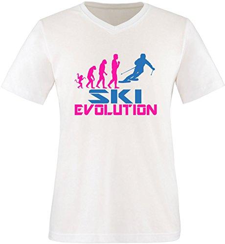 EZYshirt® Ski Evolution Herren V-Neck T-Shirt Weiss/Pink/Blau