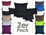Doppelpack Kissenbezüge aus sanforisiertem Baumwoll-Jersey zum Sparpreis - in dezentem Design - 12 dekorativen Farben und 5 Größen, 40 x 60 cm, schwarz