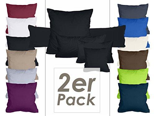 Doppelpack Kissenbezüge aus sanforisiertem Baumwoll-Jersey zum Sparpreis - in dezentem Design - 12 dekorativen Farben und 5 Größen, 40 x 40 cm, schwarz