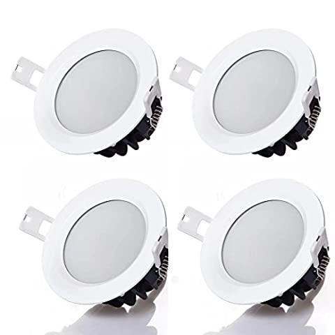 PRODELI LED Waterproof Downlight Recessed Ceiling Lamp for Bathroom Kitchen Lighting Round 9W AC85-265V 3000K Warm White (Pack of