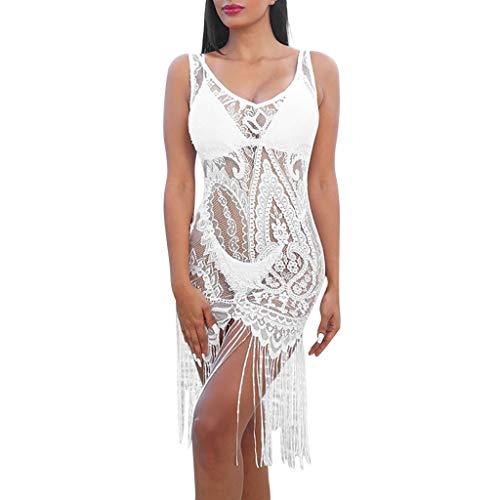 men Sexy V-Ausschnitt Spitze Strandkleid Mit Quaste Ärmellos Perspektive Weste Kleid Minikleid ()