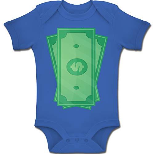 8fc38a086e Shirtracer Karneval und Fasching Baby - Geldscheine Kostüm - 1-3 Monate -  Royalblau -