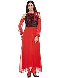 Red and black split sleeves tie-up dress