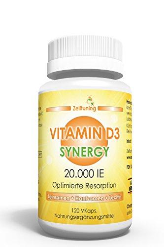 Vitamin D3 Synergy Hochdosiert - 20.000 IE pro Depot-Kapsel - Vitamin D konzipiert in einer Omega-3-Fettsäuren-Matrix aus Leinsamen, Hanfsamen und Sonnenblumenlecithin - Optimal Bioverfügbar - 120 veg. Kapseln, Natürlich ohne Magnesiumstearat, Füll- und Hilfsstoffe! Ein Zelltuning Produkt.