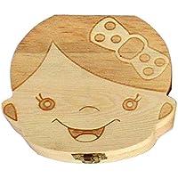 Hecha a mano hermosa bebé registro de crecimiento Niño niña Caja de almacenamiento de dientes deciduos Caja de almacenamiento de madera Caja dental para almacenar al bebé