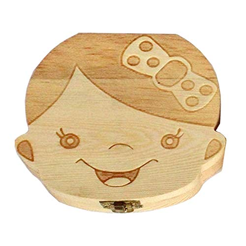 Handmade beautiful baby growth record Child girl Storage box for deciduous teeth Wooden storage box Dental box for storing the baby (Girl)