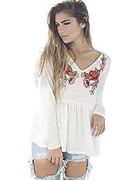 Camisas mujer,Switchali floral Top Applique SueltoCamisa Blusa Patchwork ropa de mujer en oferta vestidos de fiesta CasualModa 2017