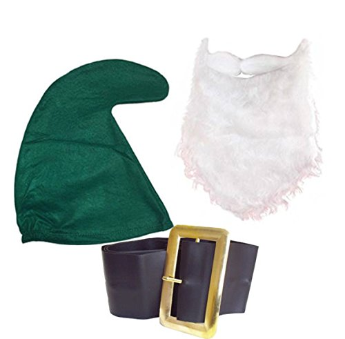 Garden Fairy Green Kostüm - Seven Dwarf/Dwarves Smurf Hay Gnome (GREEN HAT, BEARD & BELT SET) Fancy Dress Party Garden Fairy tail Snow White