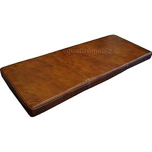 Quattro Meble Braun Echtleder Bankauflage Sitzkissen Lederkissen Sitzpolster Bank Auflage doppelt genähtes Echt Leder Kissen Sitzauflage (40 x 120 cm)