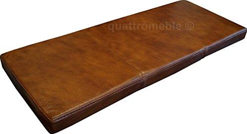 Braun Echtleder Bankauflage Sitzkissen Lederkissen Sitzpolster Bank Auflage doppelt genähtes Echt Leder Kissen Sitzauflage (40 x 120 cm)