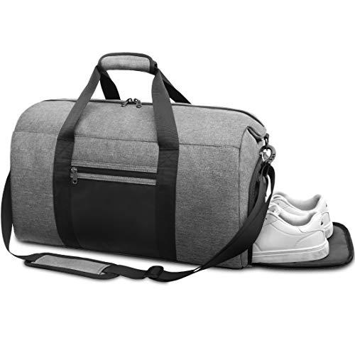 NEWHEY Borsone Palestra Uomo Borsa Sportiva con Scomparto Scarpe Borsa da Viaggio Duffel Bag Borsoni per Donna Impermeable 40L Grigio