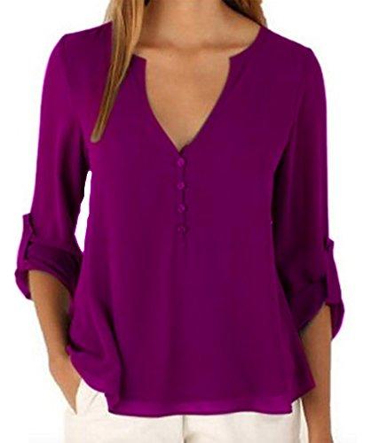 WSLCN Damen Langarmshirt Oberteil Blusen V-Ausschnitt Lila DE L (Asiatisch 3XL)
