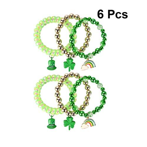 Amosfun 6 Stück St. Patricks Day Armband Kleeblatt Klee Hut Anhänger Armreif Telefon Seile Armbänder Schmuck für Irische Festliche Partei Liefert (Sortierten Stil)