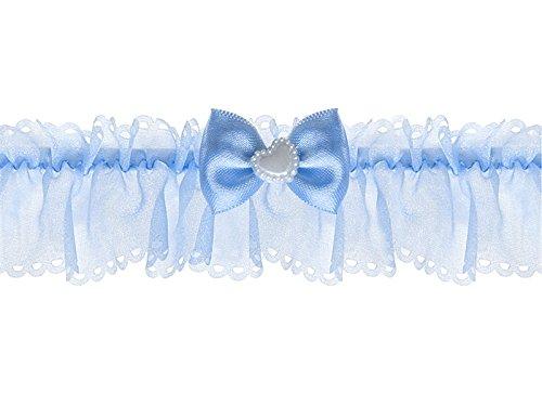 LoBeSo Strumpfband Chiffon in blau mit Schleife und weißen Perlenherz für die Braut Hochzeit