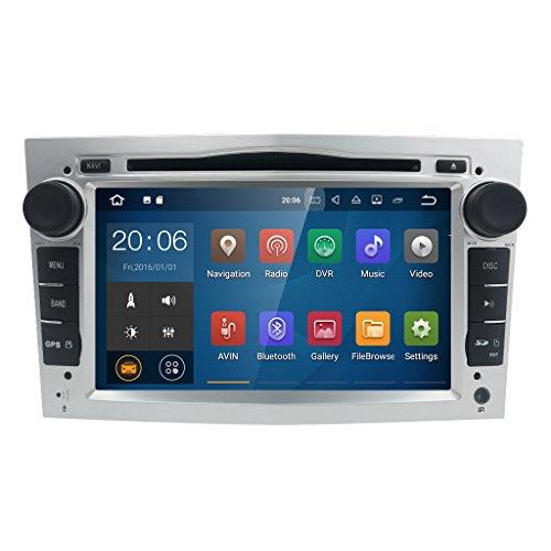 Silver Android 7.1 Quad Core Autoradio Multimedia Player 16GB + 2GB für Opel Astra Corsa Zafira Vivaro Meriva Vectra mit GPS Navi unterstützt Bluetooth WLAN DAB+ Subwoofer USB MicroSD 7 Zoll