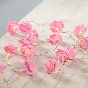20er LED Rosen Lichterkette batteriebetrieben