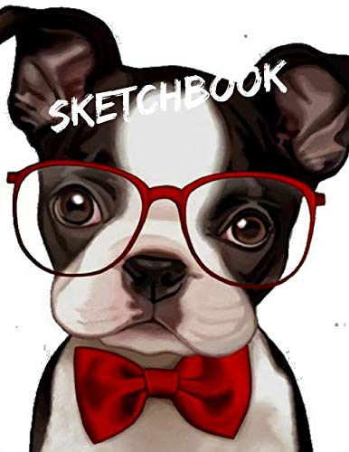 ashion Puppy Dog with Red Bow tie Themed Personalized Artist Sketch Book Notebook and Blank Paper for Drawing, Painting Creative Doodling or Sketching. ()