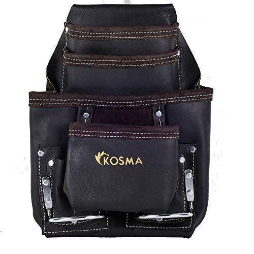 Kosma - 10 tasche Cintura porta attrezzi in pelle conciata a olio con 2 porta martello in metallo (chiodo e cintura per martello)