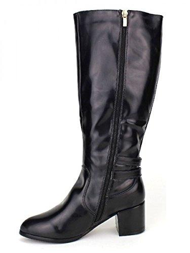Cendriyon, Botte noire Brillante ALANE MODE Chaussures Femme Noir