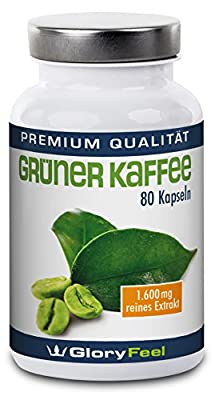 Green Coffee Extract Capsules - Highly Dosed and Pure Green Coffee Bean Extract + Vitamin C - 1.600mg Green Coffee Powder per Serving - 100% Natural Dietary Supplement, Appetite Suppressant and Fat-Burner - Backed by Amazon Guarantee by Gloryfeel