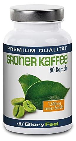 Extrait de Cafe Vert - Hautement doseé et purement green coffee bean extract - brûleur de graisse et anorexiant organique pour la perte de poids - 1600 mg de poudre de café vert pure - 80 végétalien capsules - Qualité Supérieure