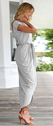 Longwu Deman Frauen Casual Beach Club Maxi Kleider Sommer Party Lange Kleid Grau