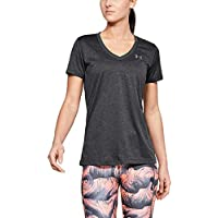 Under Armour Tech Short Sleeve V-Solid Camiseta, Mujer, Gris (Carbon Heather/Metallic Silver 090), S