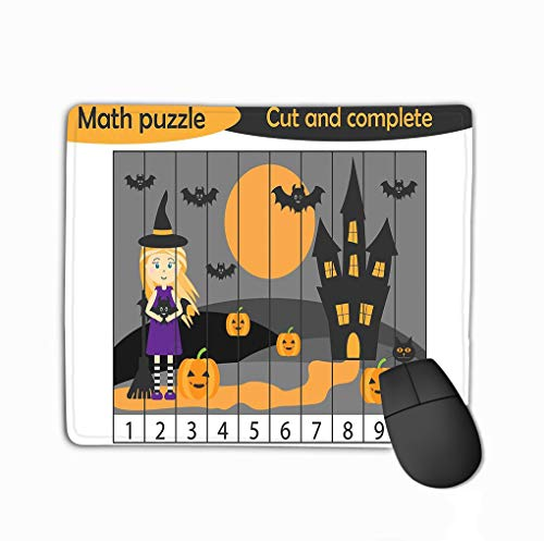 Mouse pad math puzzle halloween picture witch cartoon style education game development preschool children use scissors cu steelserieskeyboard (Halloween Math Puzzles)