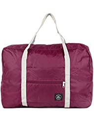 GGG Bolsa de deporte ?Portátil de poliéster plegable viaje impermeable bolsa de equipaje maleta bolso color Rojo del vino