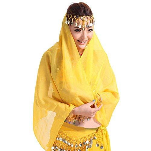 Bauchtanz Kostüm Gesichtsschleier Metall Coin Headwear Chiffon Wrap Schal (Weiß Und Gold Bauchtanz Kostüm)