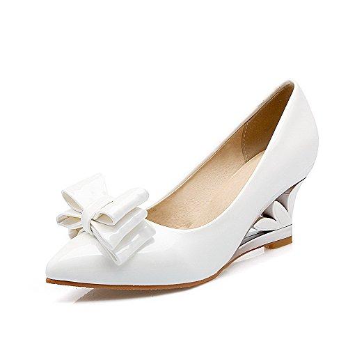 VogueZone009 Femme Pointu à Talon Correct Tire Chaussures Légeres Blanc
