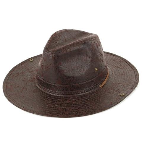 Fedora hat leather effect brown wide adjustable brim (57cm)