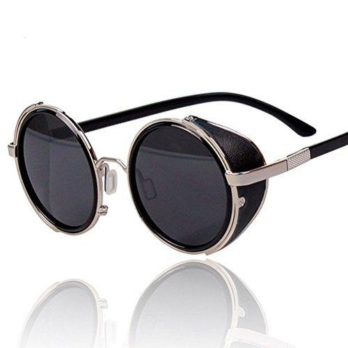 Arctic Star Sonnenbrille im Stil der 80er Jahre, Vintage-Stil, klassisch, rund, sehr beliebt (silberfarbener Rahmen)