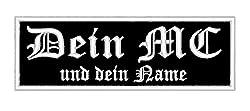Rechteckiger Aufnäher/Patch 12 x 4cm Wunschtext 2. Zeile Kleiner - individuell personalisiert