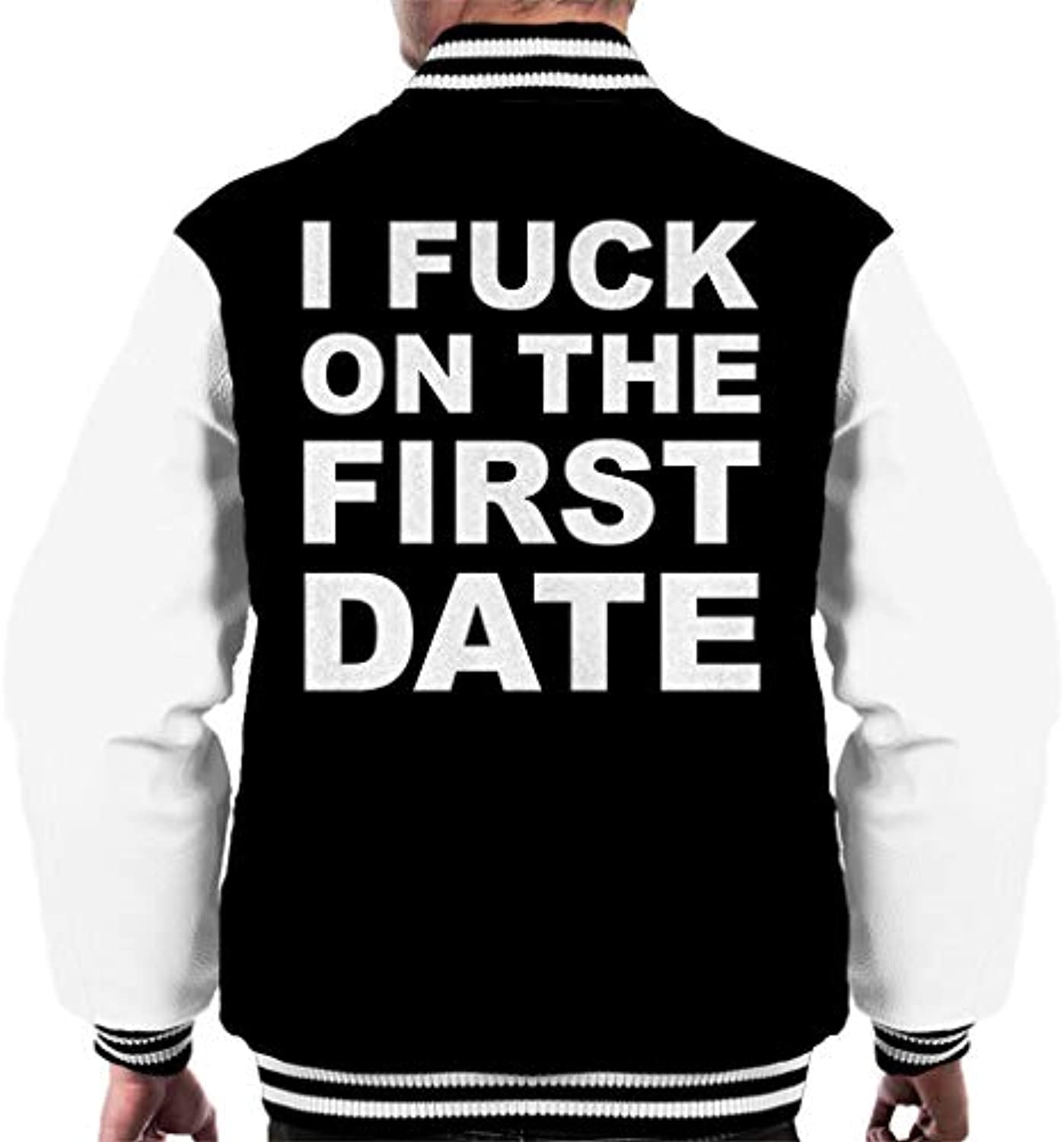 I Fuck On On Fuck The First Date Men s Varsity Jacket 21eacb ... 6d86e60c8d6