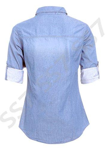SS7 Nouvelles Femmes Chemise En Jeans, Taille 8 - 14, Jeans Bleu Clair, Indigo Bleu Jeans Clair