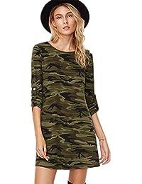 Sexy Militaire Camouflage Camo Modèle Motif Manches Longues T-Shirt Mini Courte Dress Robe Tunique Haut Top