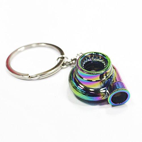 Muchkey® Schlüsselanhänger im stylischen Turbolader-Design, mit rotierender Turbine, ideal für Modellauto-Fans, Neo Rainbow -
